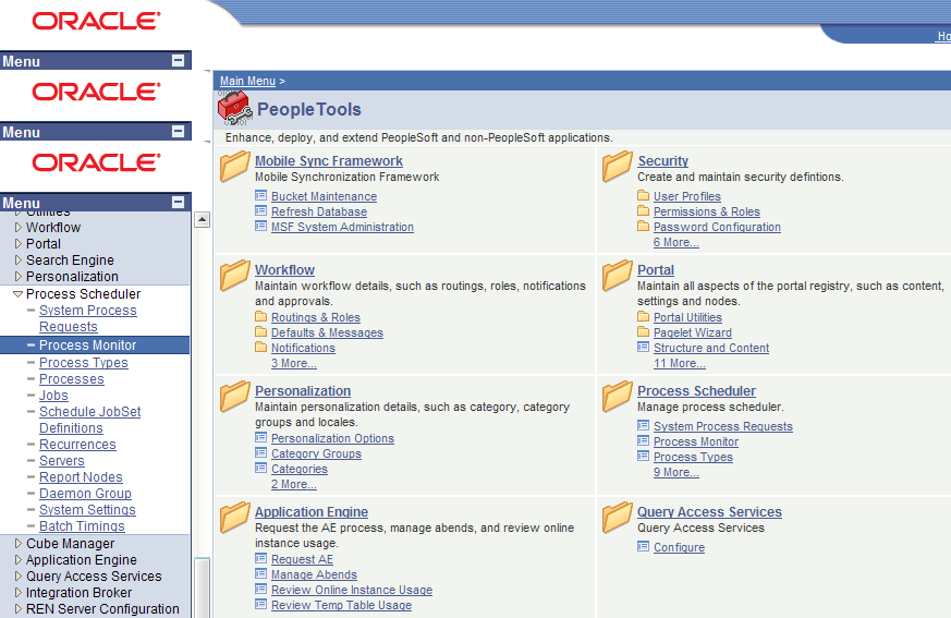 peoplesoft navigation portal menu oracle version nesting issue campus solutions screenshot problem peopletools demo explorer notice internet left hand